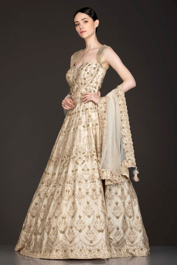 Ivory Gold Colour Silk Anarkali/Gown With Gold Zari And Gota Patti Embriodery