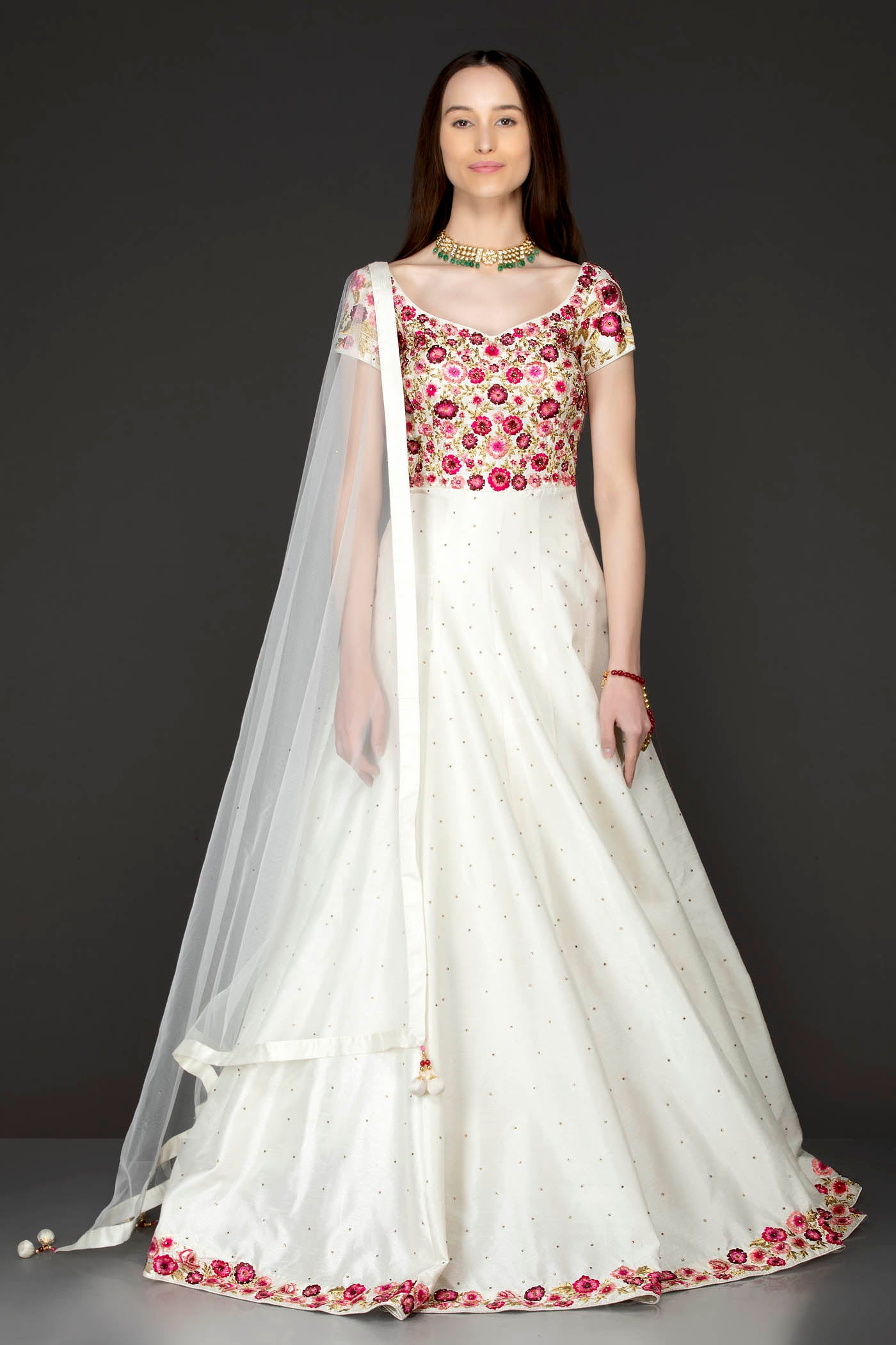 Ivory Silk Anarkali With Pink Resham/Thread Embroidery