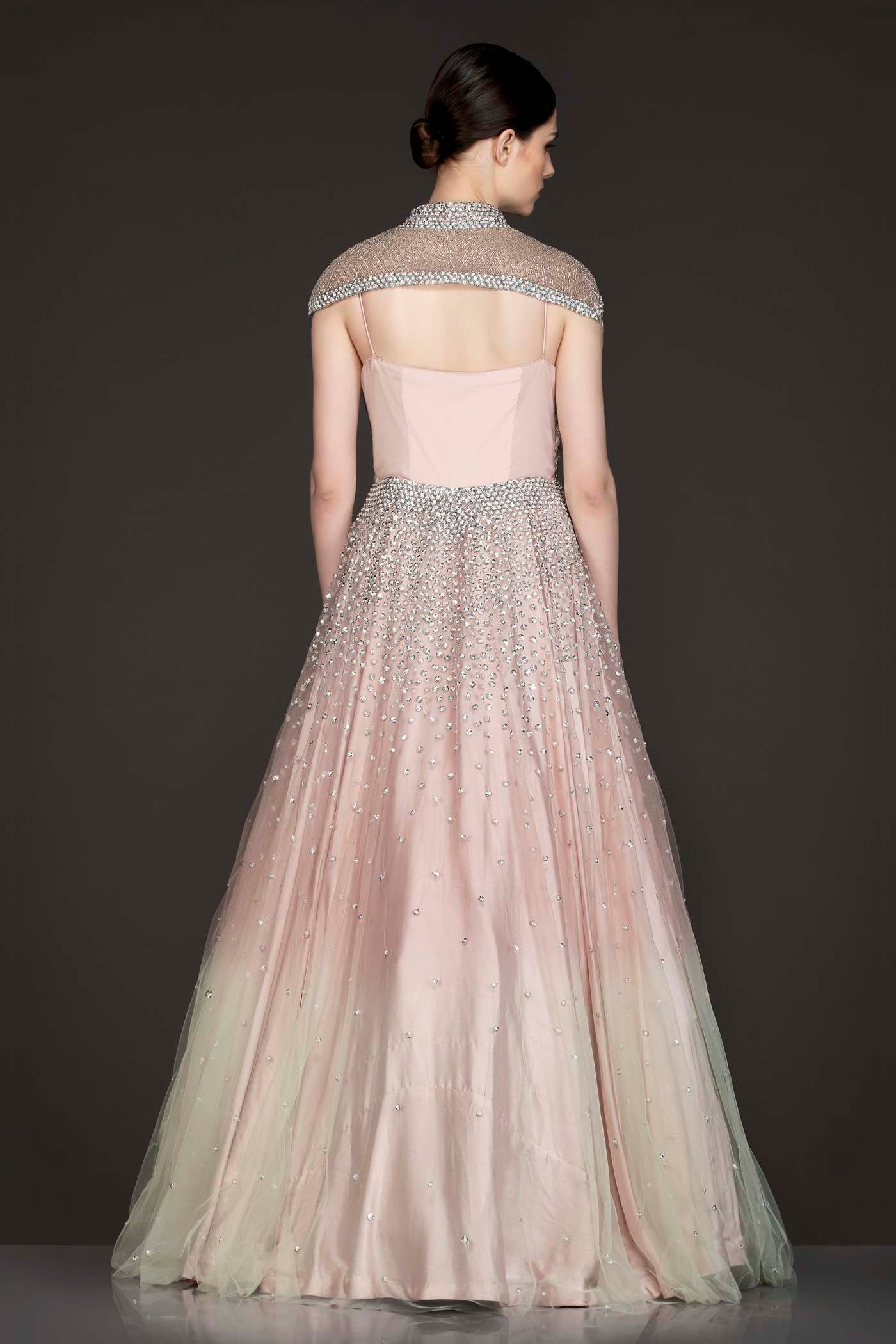 Peach To Mint Net Ombre Gown With A Separate Shoulder Cape
