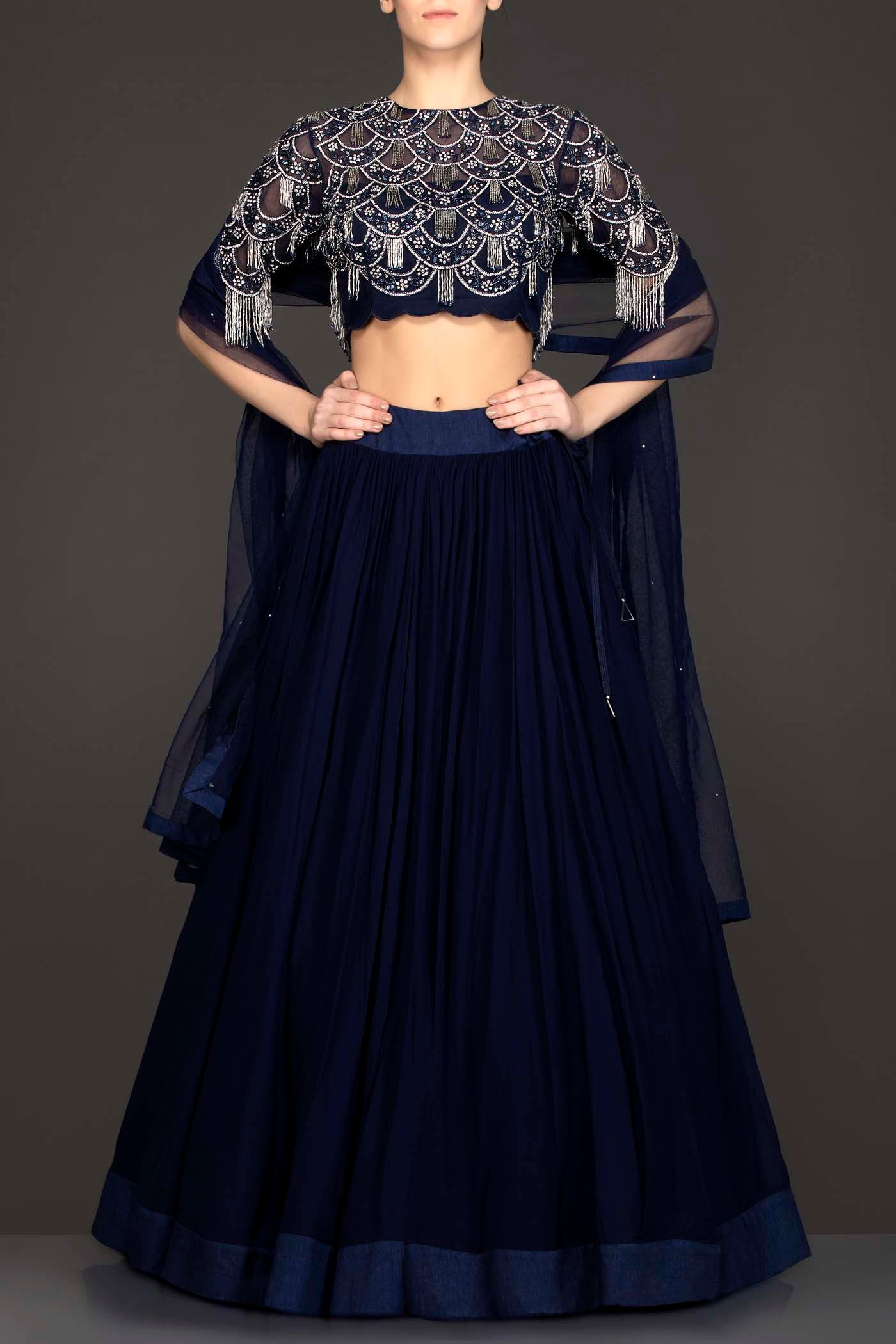 Navy Blue Georgette Skirt And Net Grey Tassel Top With Net Dupatta