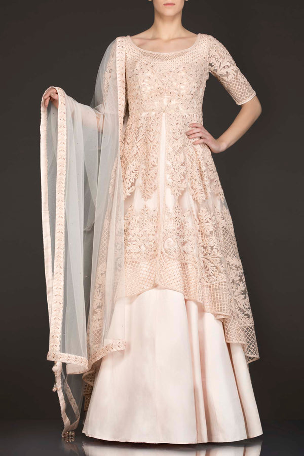 Peach Colour Net Jacket Top With Silk Skirt And Net Dupatta