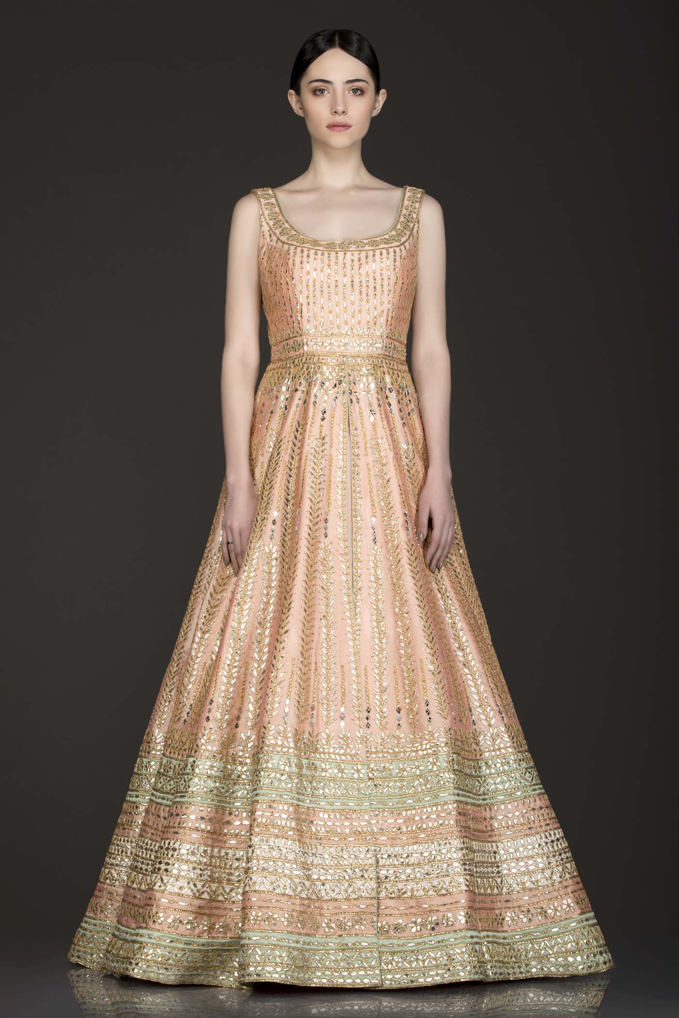 Peach Colour Silk Anarkali/Gown With Front Slit And Attached Skirt With Net Dupatta