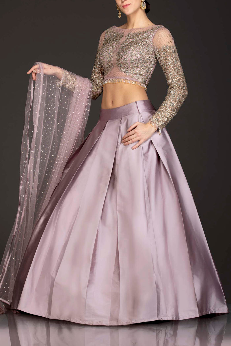 Lilac Colour Silk Skirt And Net Top And Dupatta