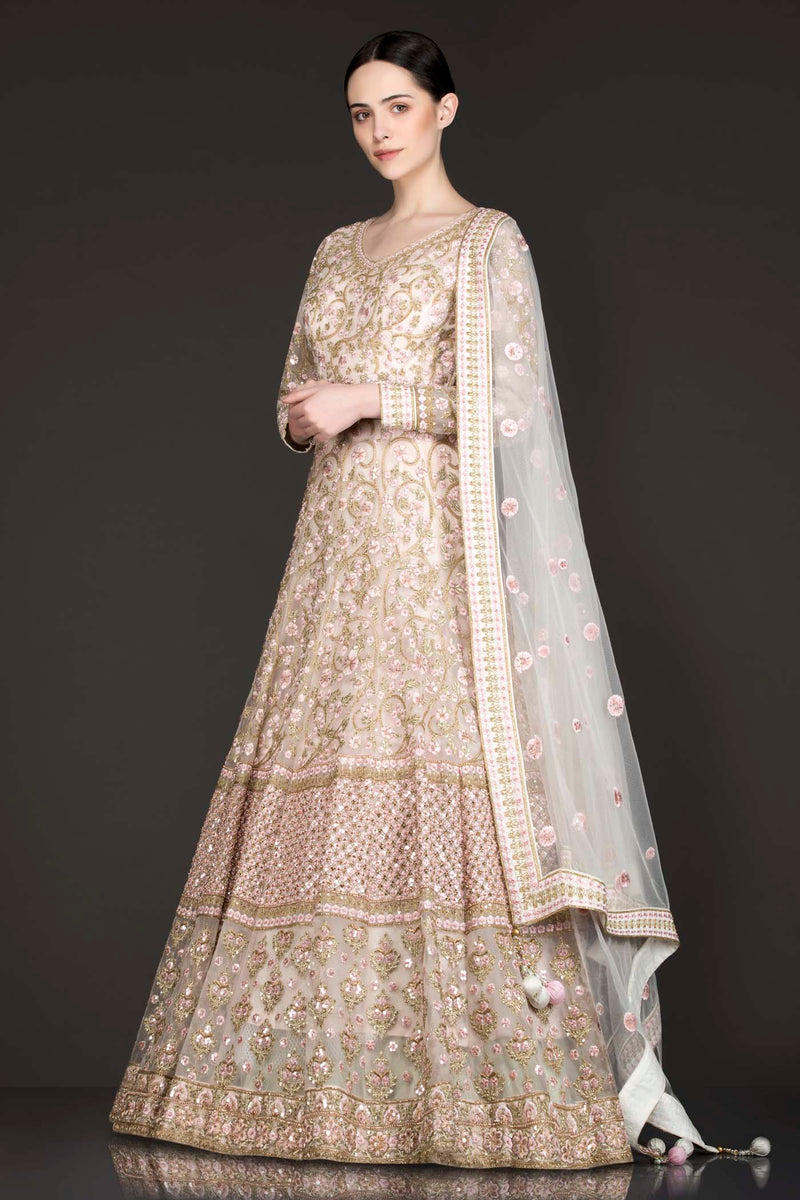 Peach Colour Net Anarkali/Gown With Net Dupatta