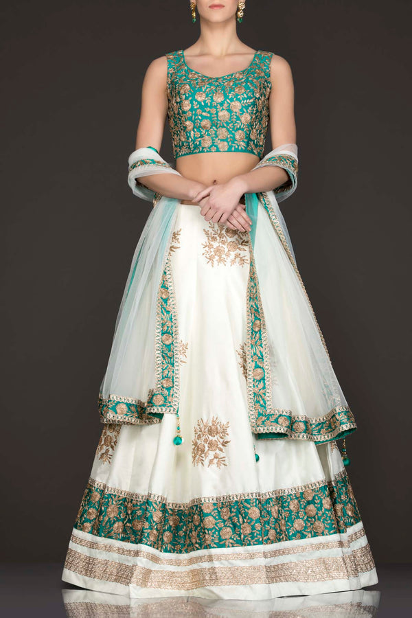 Ferozi Blue Silk Top With Ivory Silk Lehenga With Net Dupatta