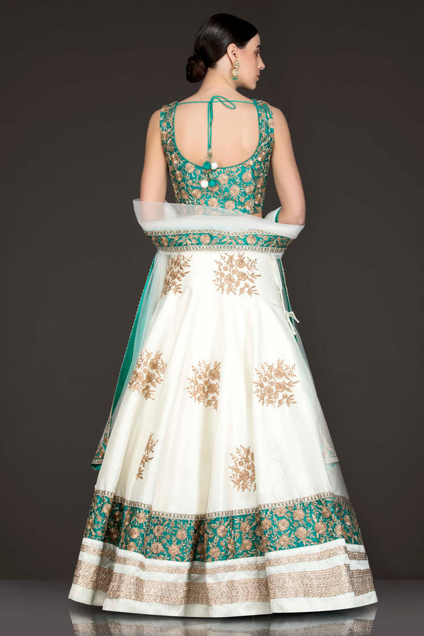 Ferozi Green Silk Top With Ivory Silk Lehenga With Net Dupatta