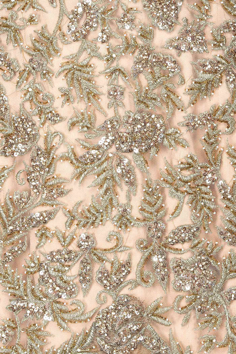 Nude Colour Kameez-Sharara With Gold Zari Embroidery
