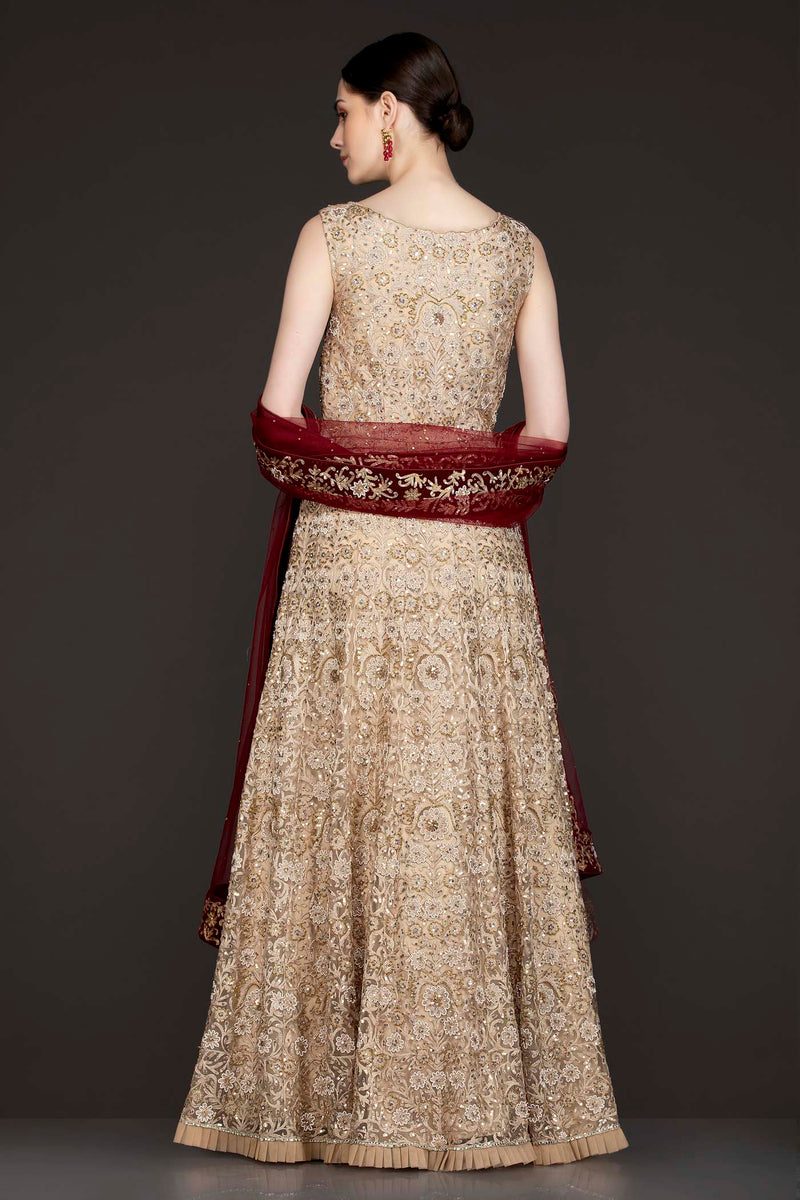 Gold Colour Net Anarkali/Gown With Thread Embroidery