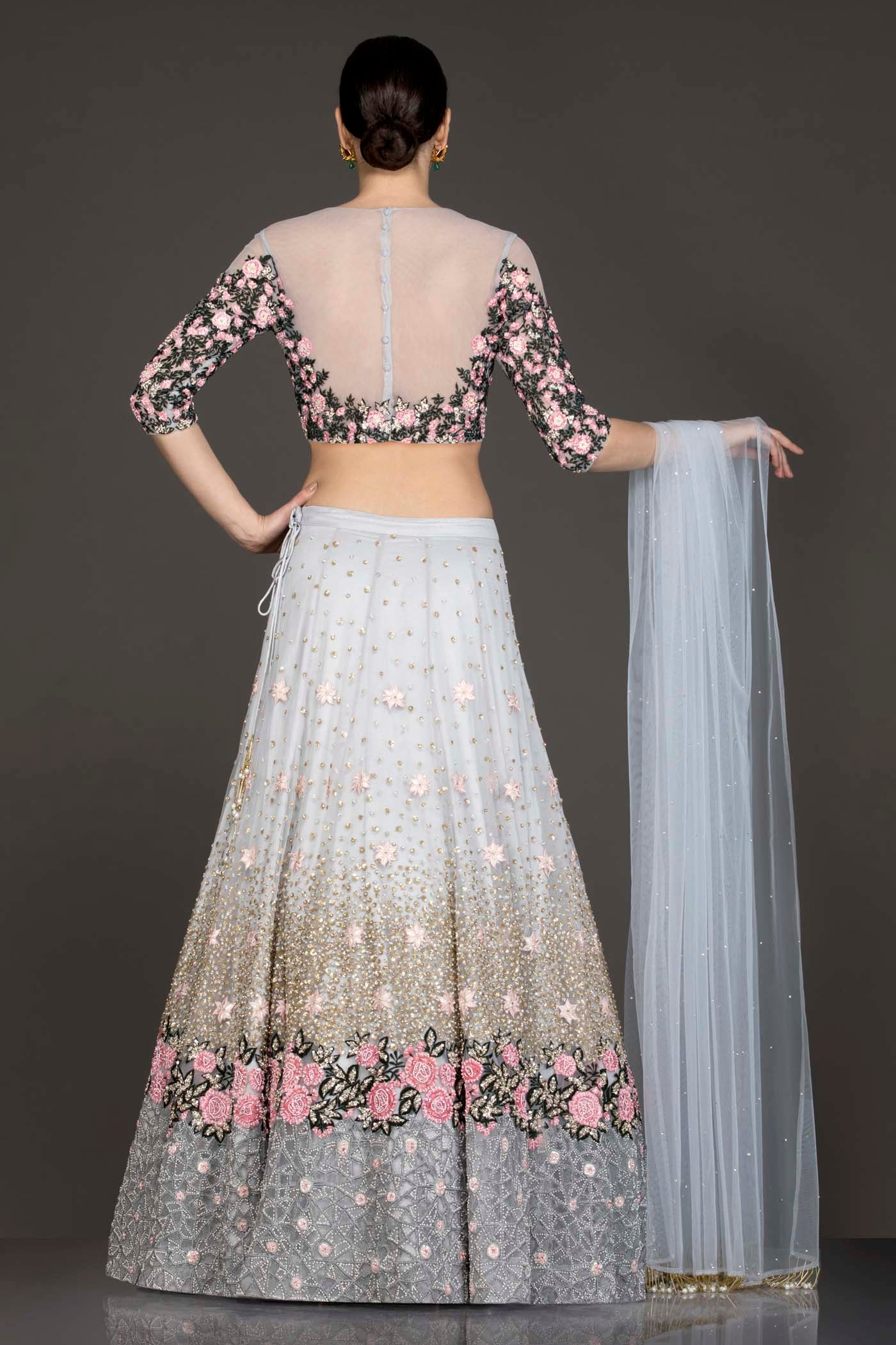 Light Grey Colour Net Lehenga Top Dupatta With Black And Pink Thread Work And Sequence Highlighting