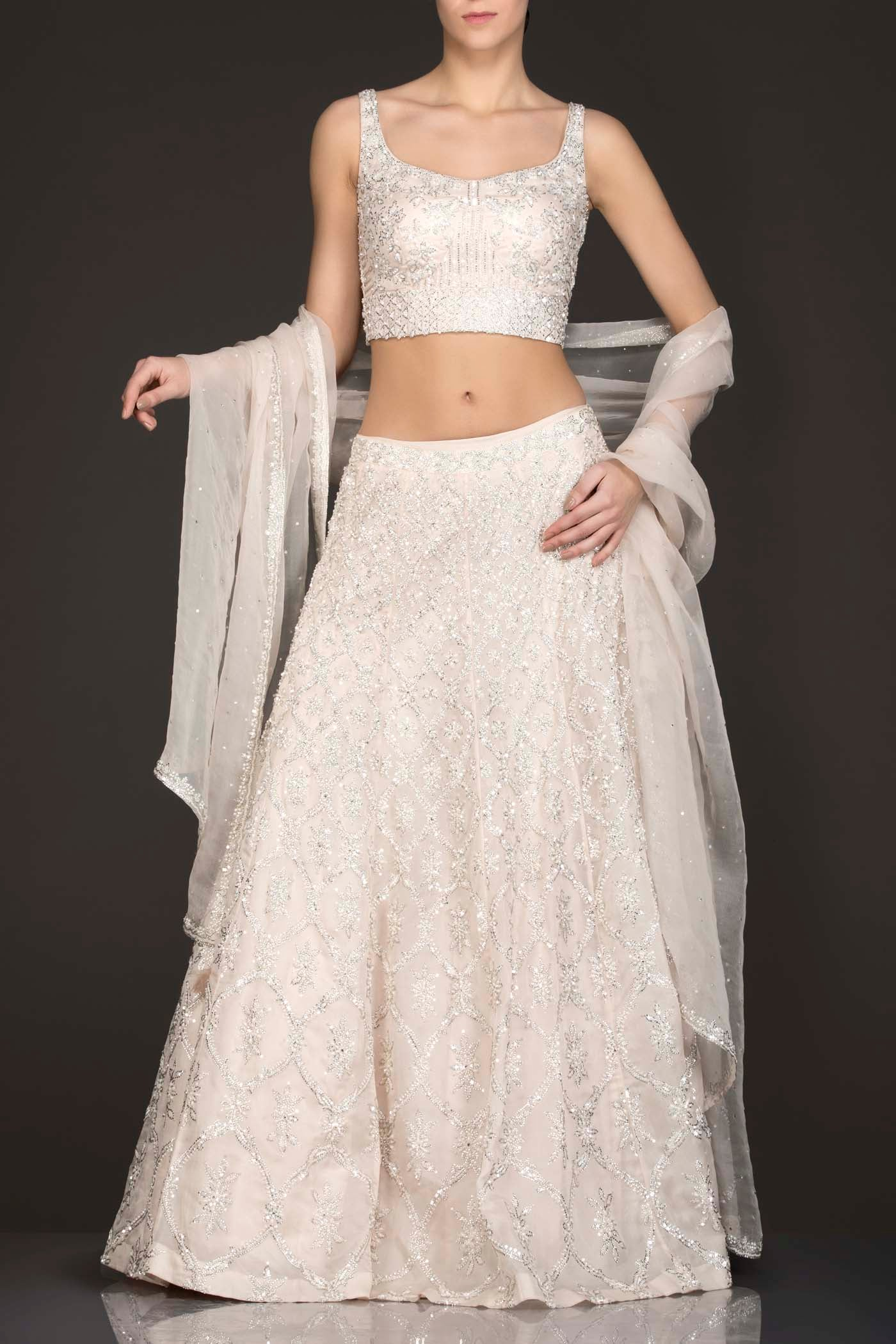 Ivory Colour Organza Lehenga Top With Silver Work And Net Dupatta