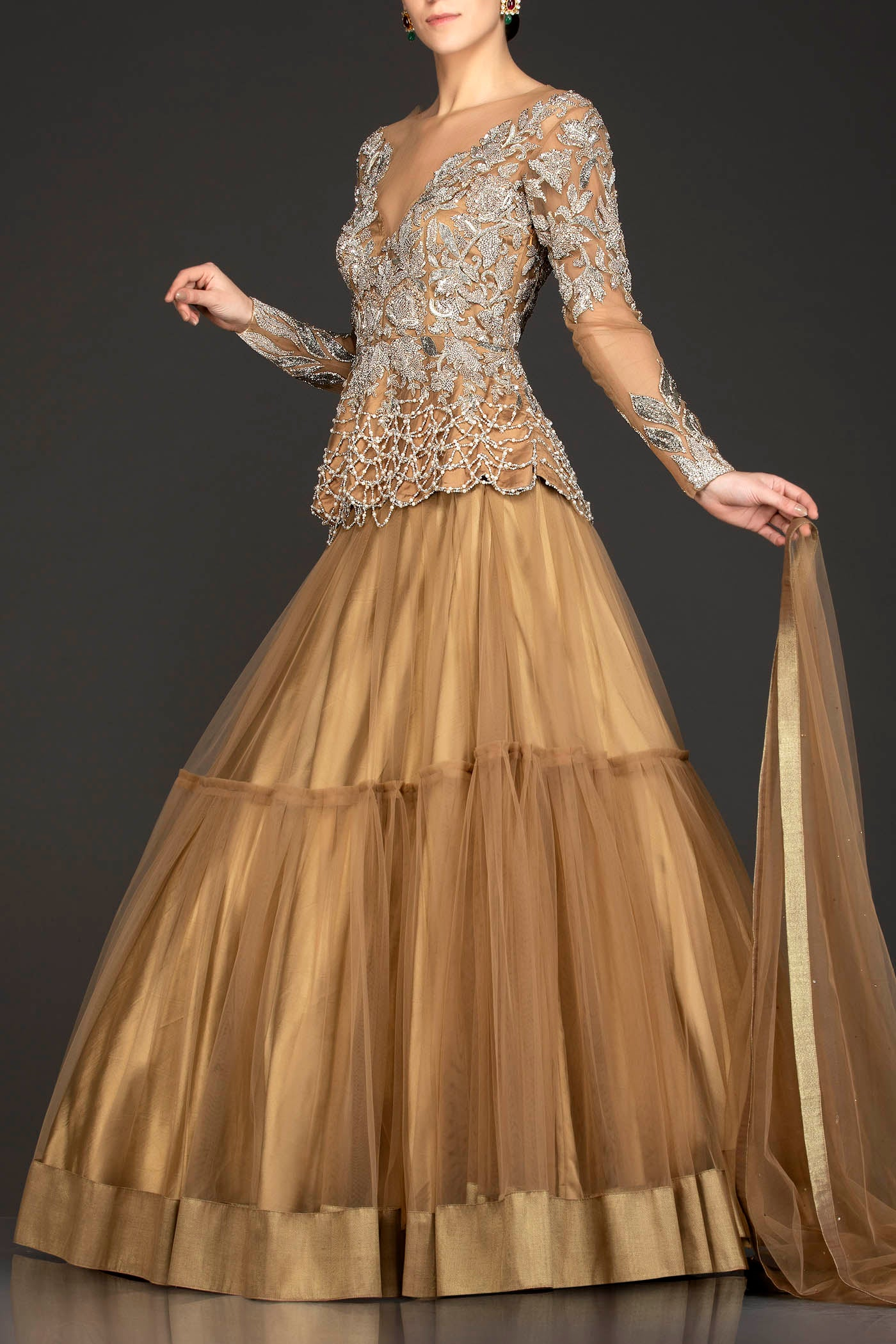 Dark Gold Colour Net Peplum And Skirt With Dabka Work And Tassels