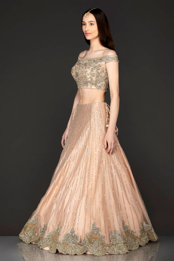 Nude Colour Net Off Shoulder Top And Skirt With Net Dupatta Gold Zari And Sequence Embroidery