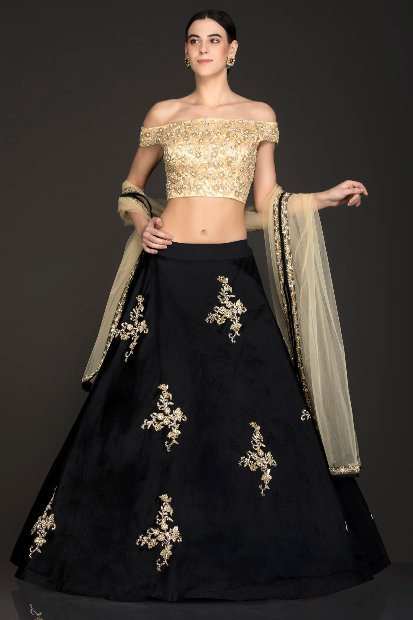 Gold Net Top With Black Silk Skirt With Gold Dupatta Adorned With Hand Embellishment