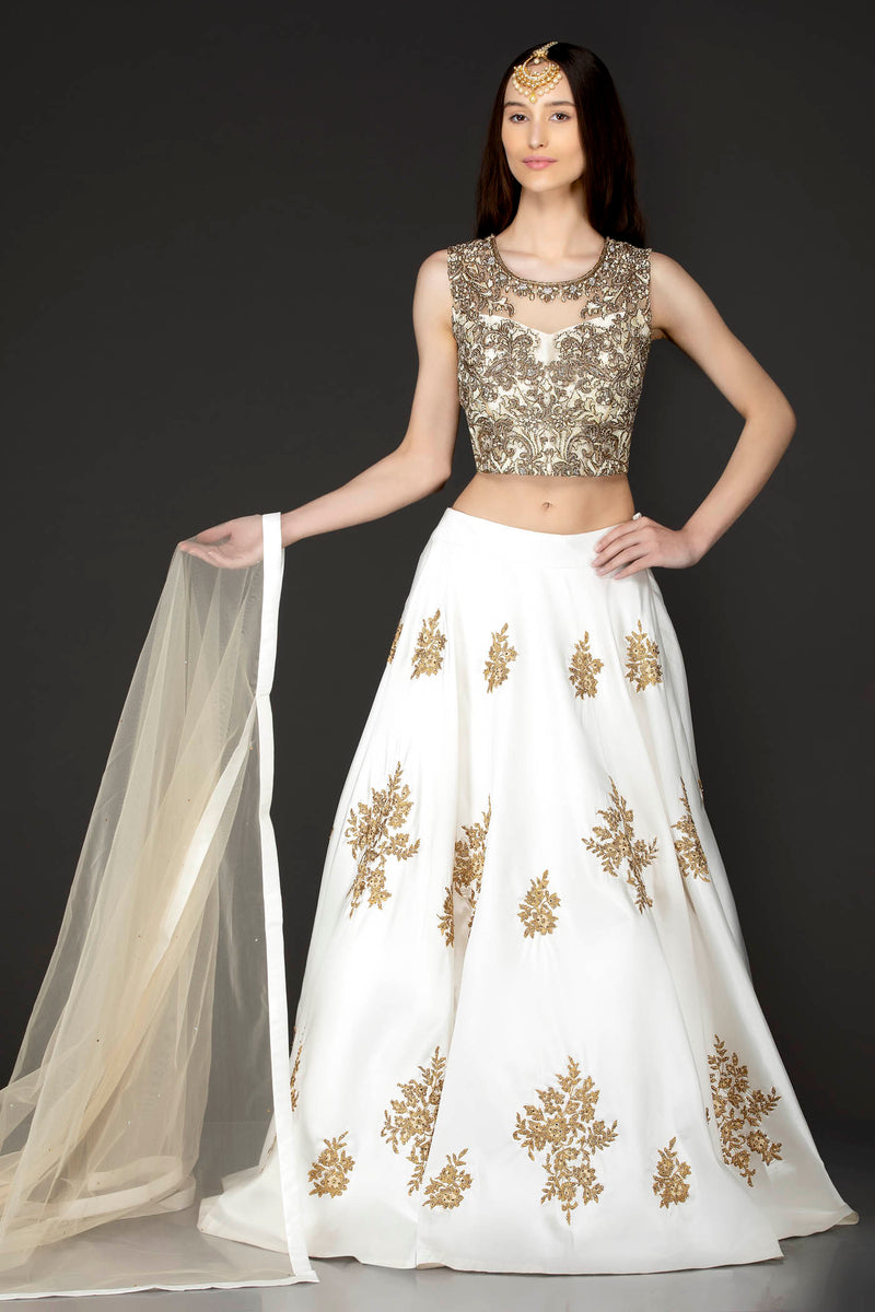 Ivory Silk Skirt And Gold Net Top With Gold Dabka And White Thread Embroidery