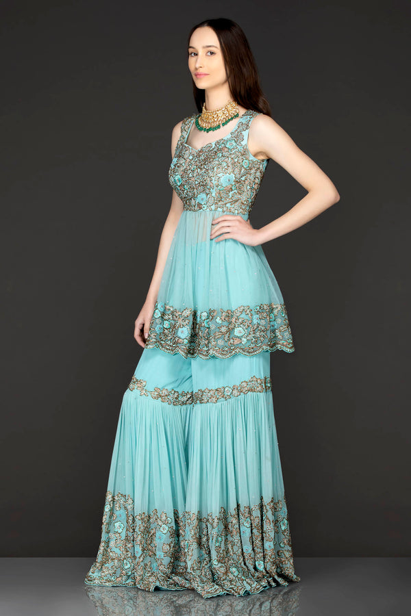 Sky Blue Peplum Net Top With Georgette Sharara And Net Dupatta