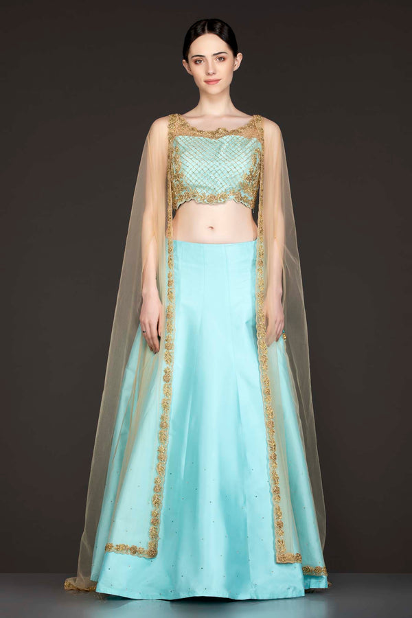 Ferozi Blue Silk Skirt Paired With A Gold Net Cape
