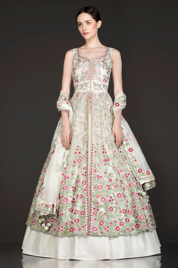Ivory Colour Net Jacket And Silk Skirt With Net Dupatta