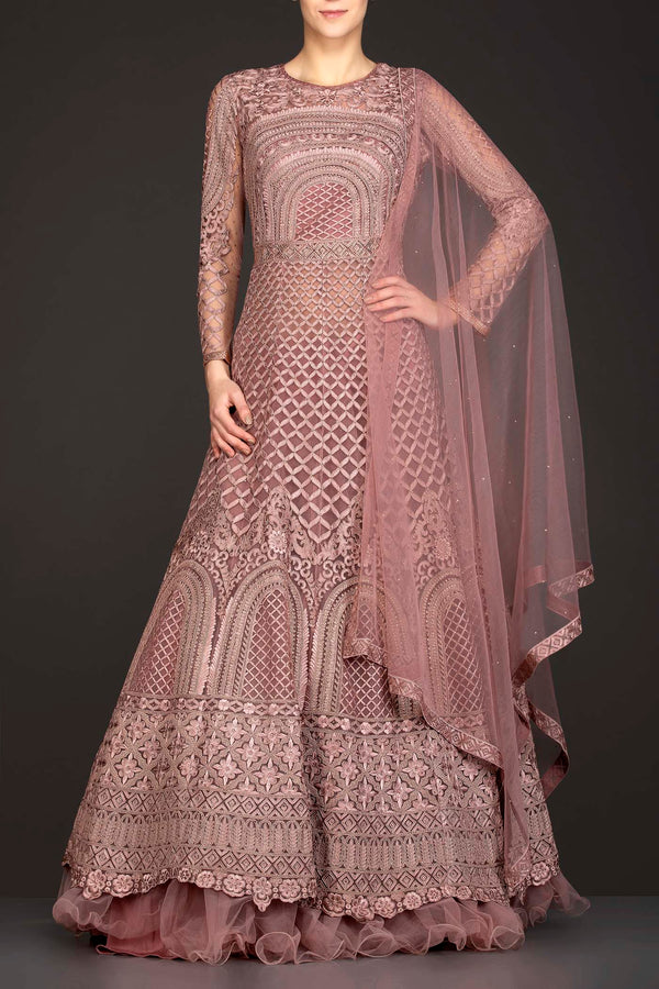 Dusty Pink Net Anarkali/Gown With Net Skirt And Net Dupatta With Thread Work