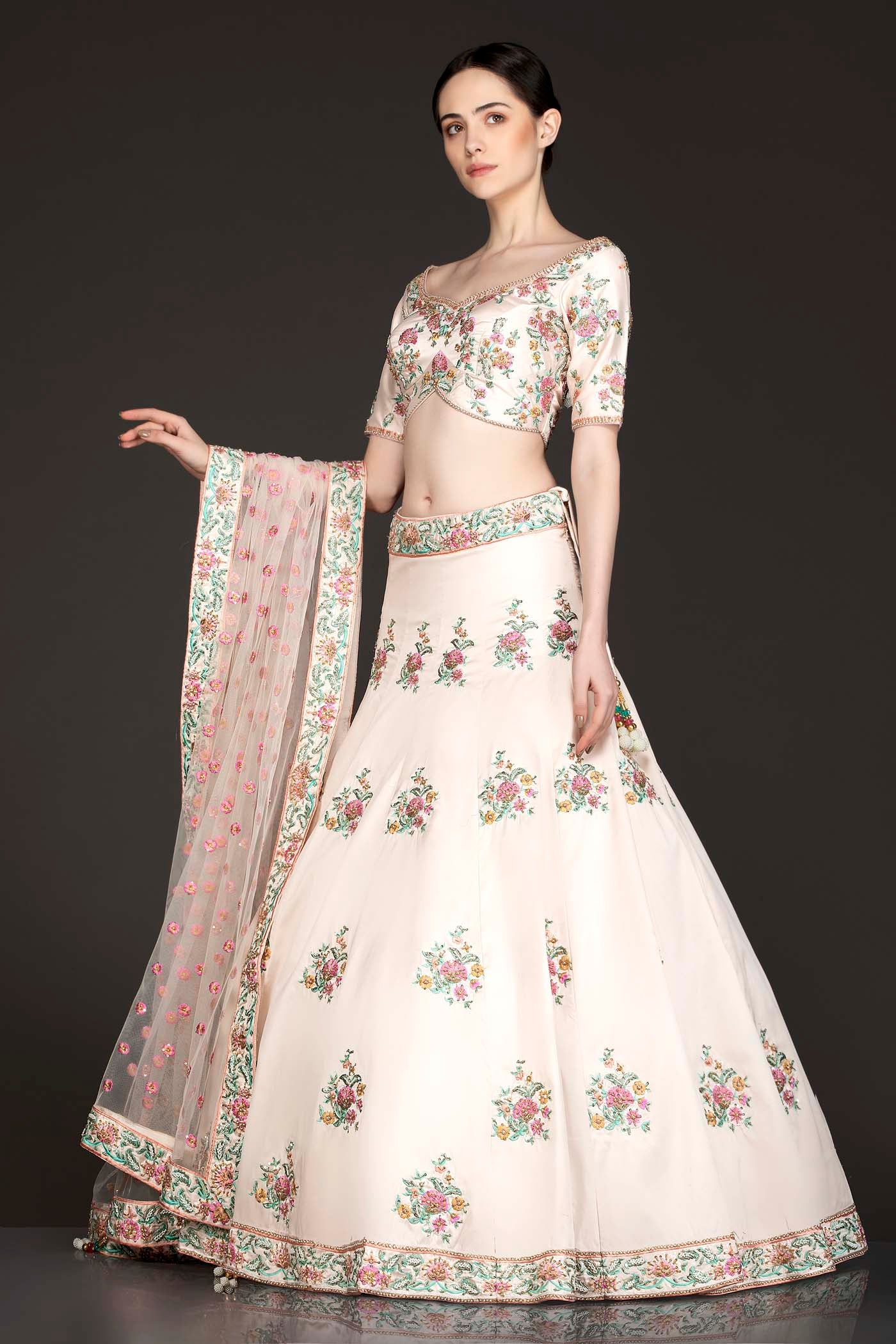 Gold Colour Silk Lehenga And Top With Peach Net Dupatta With Peach And Mint Thread Embroidery