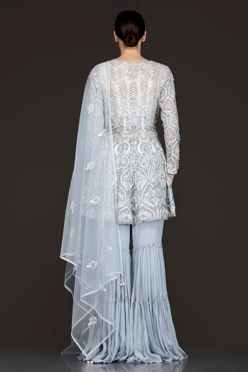 Grey Organza Peplum Top With Frill Grey Sharara And Net Dupatta With White Resham Embroidery