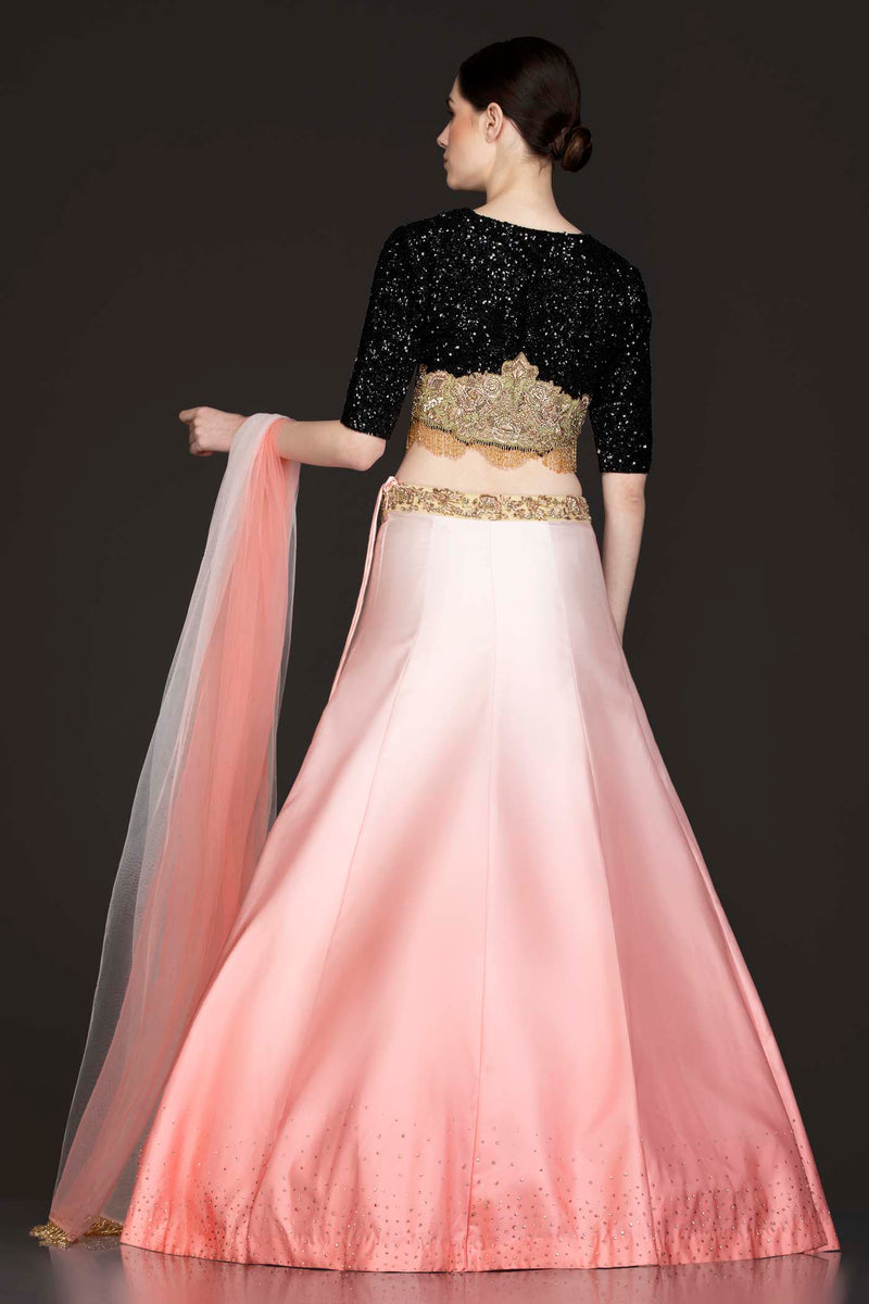 Black To Gold Ombre Net Top With Sequence Embroidery With Light To Dark Peach Ombre Silk Skirt