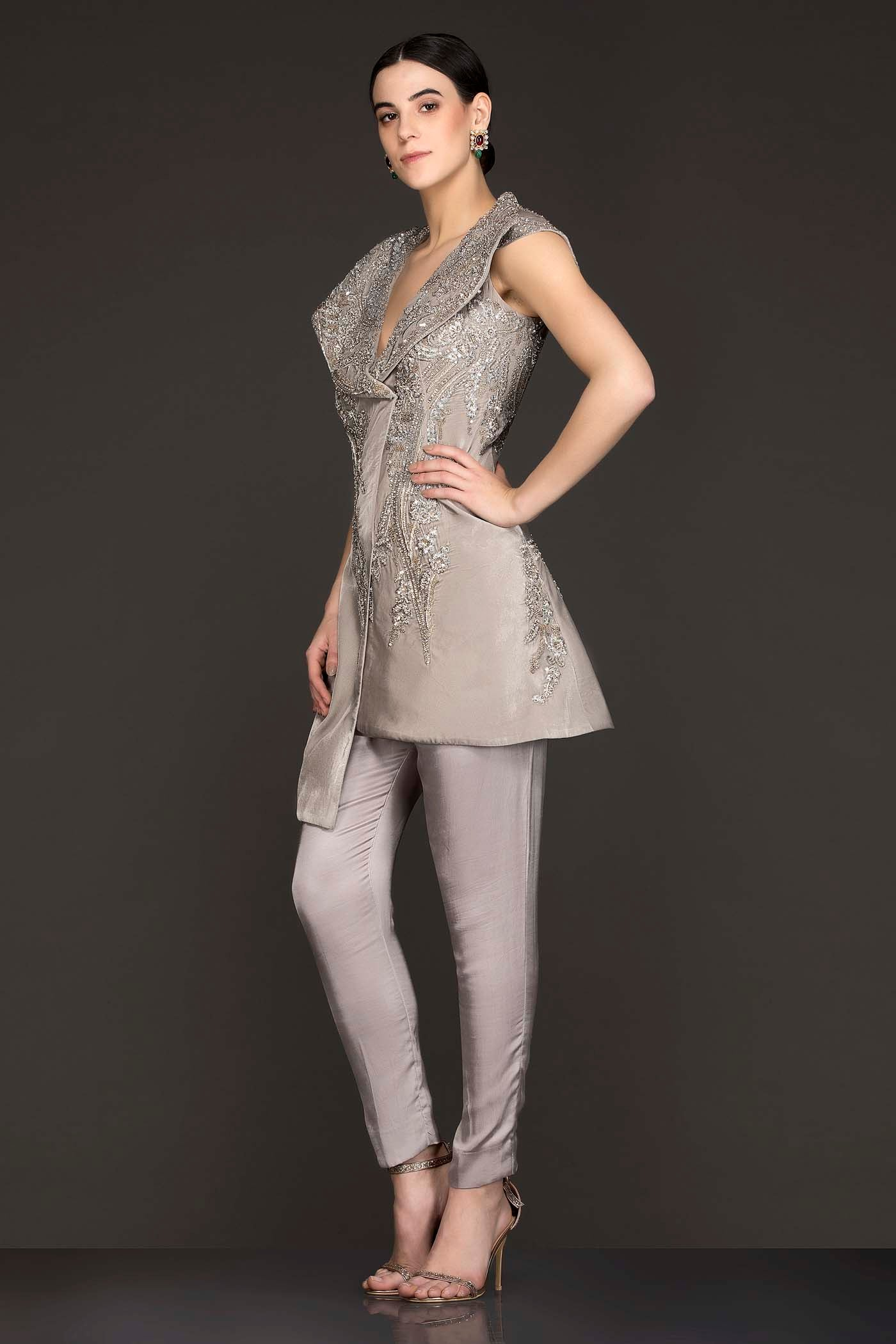 Grey Suede Asymmetric Peplum Jacket Top With Satin Georgette Pants