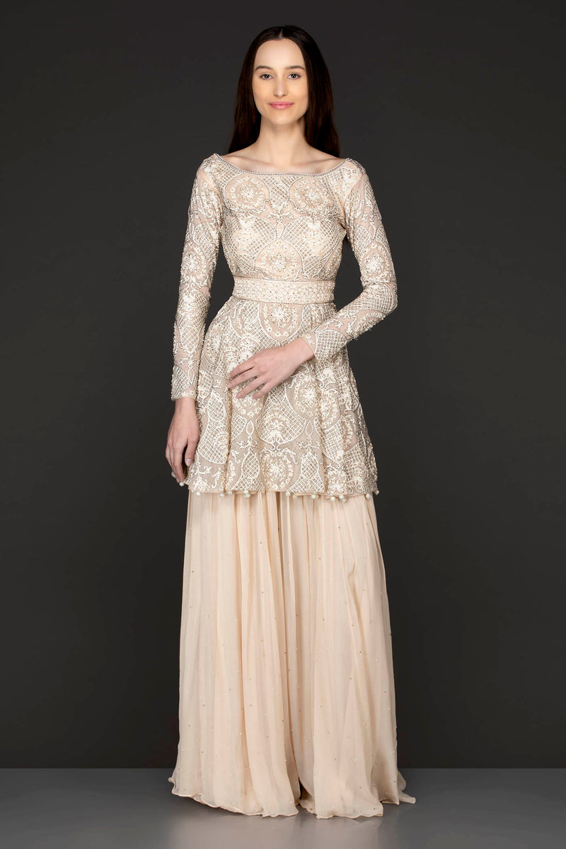 Ivory Colour Peplum Sharara With Tone To Tone Reasham/Thread Work