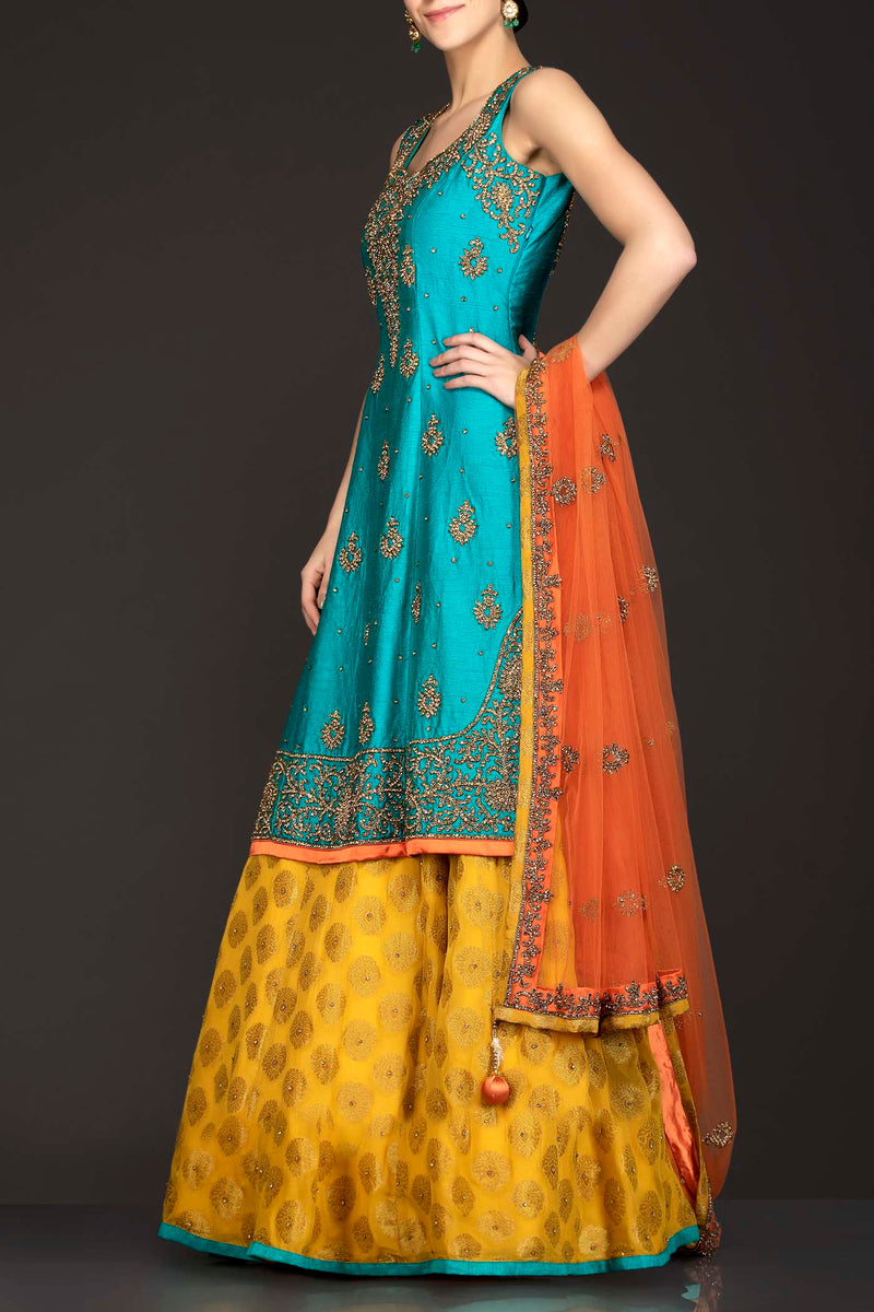 Dark Green Silk Long Kameez With Bootie Georgette Lehenga And Orange Net Dupatta