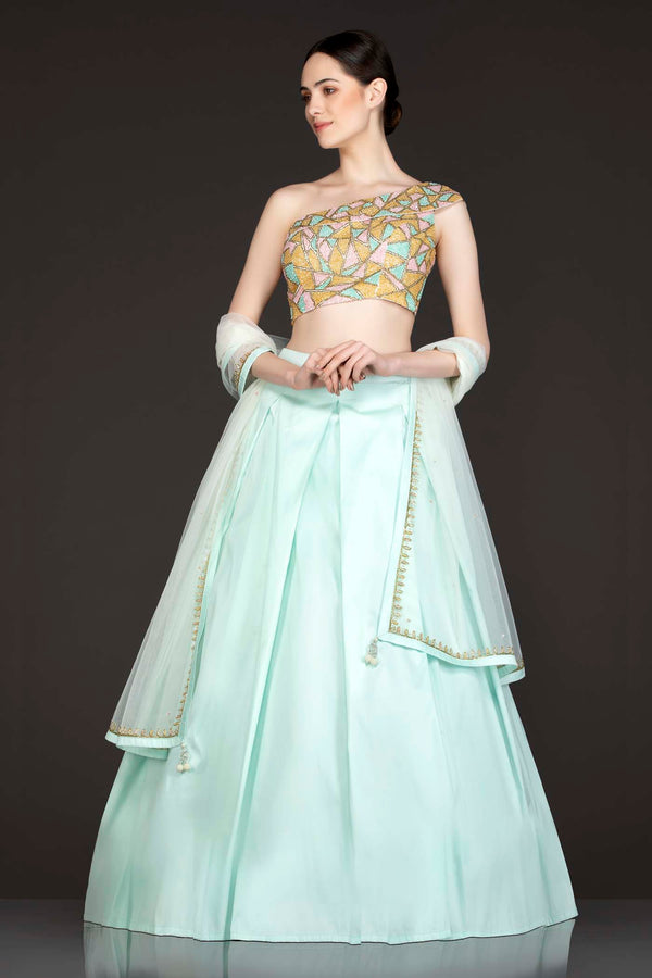 Muticolour Sequins Embroidery Ivory Net Base One Shoulder Top with Mint Blue Silk Box Pleat Skirt And Ivory Net Dupatta