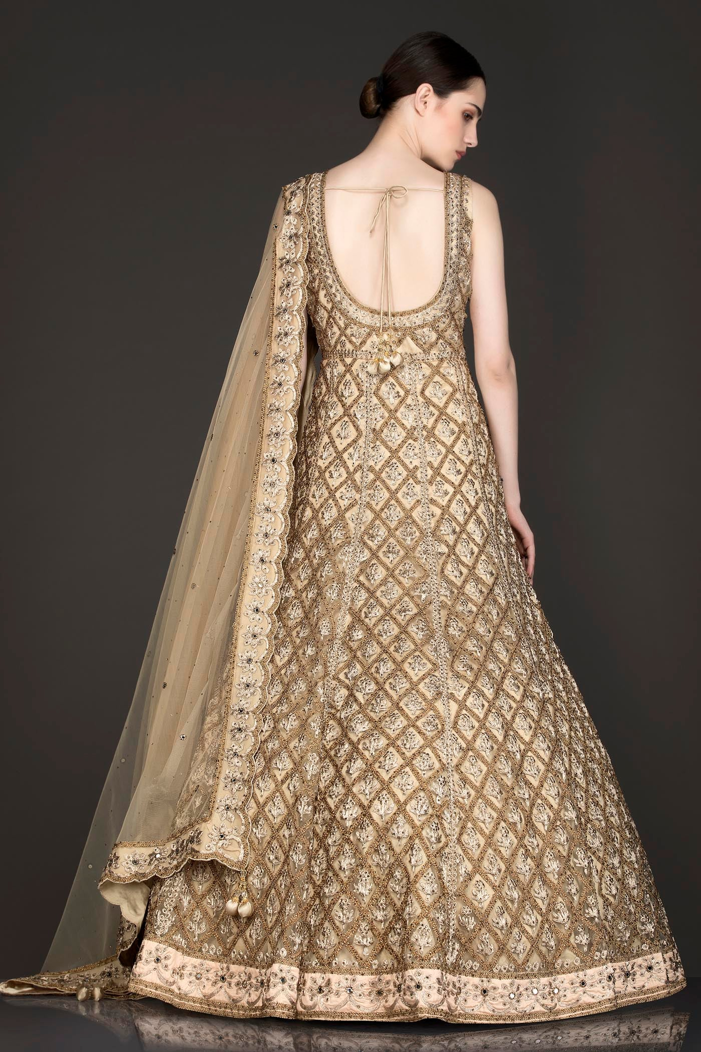 Nude Colour Net Anarkali/Gown With Net Dupatta
