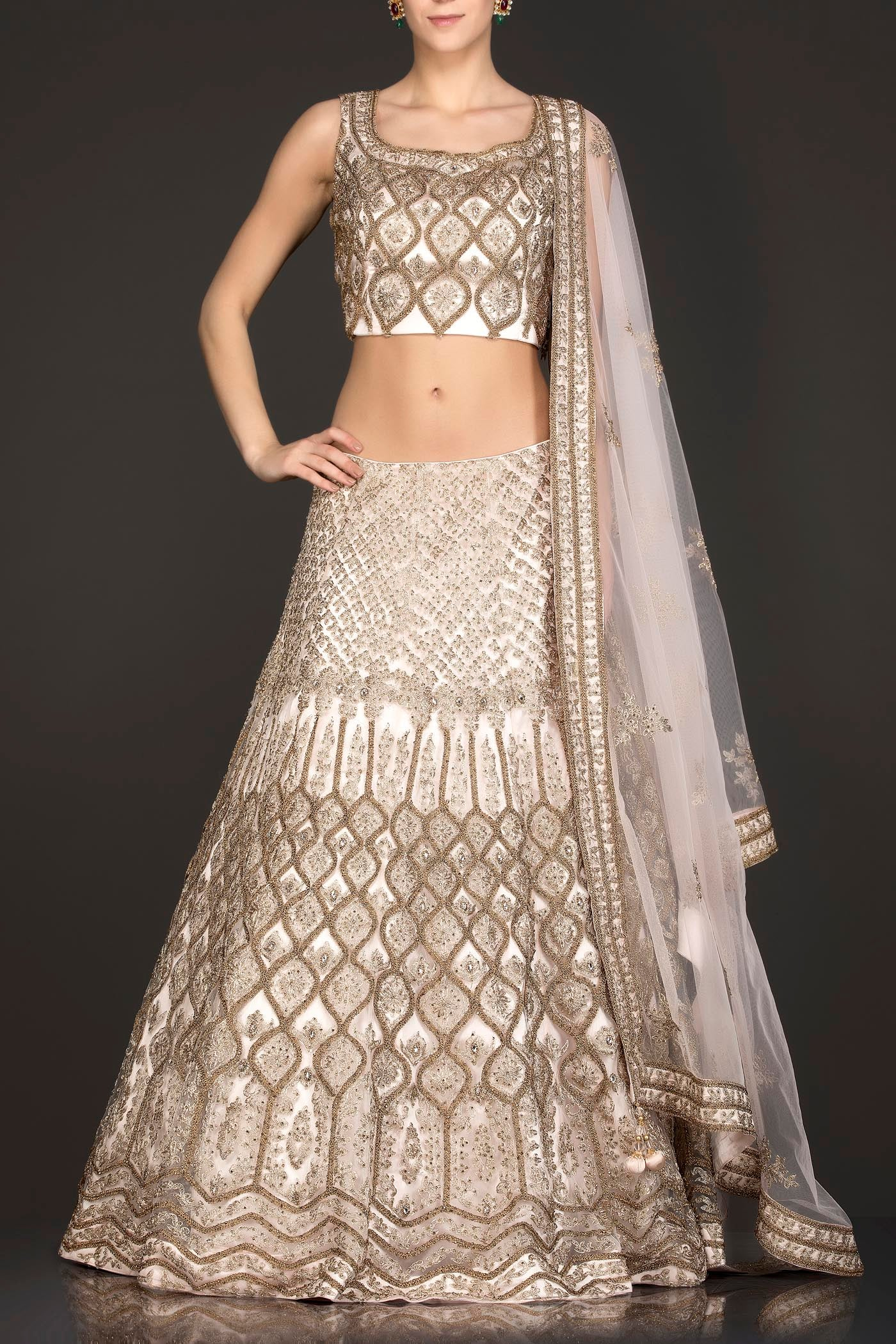 Nude Colour Net Lehenga Top Dupatta With Heavy Zari Embroidery