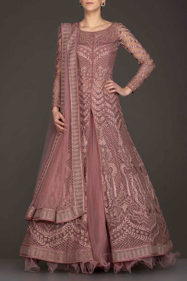 Mauve Colour Jacket Gown With Net Skirt And Net Dupatta