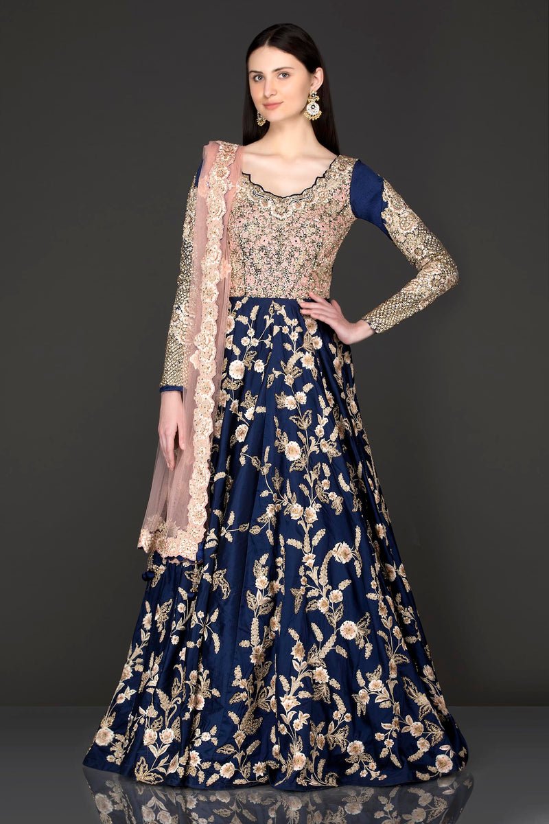 Navy Blue Colour Silk Anarkali/Gown With Sequence Top Part With Net Dupatta