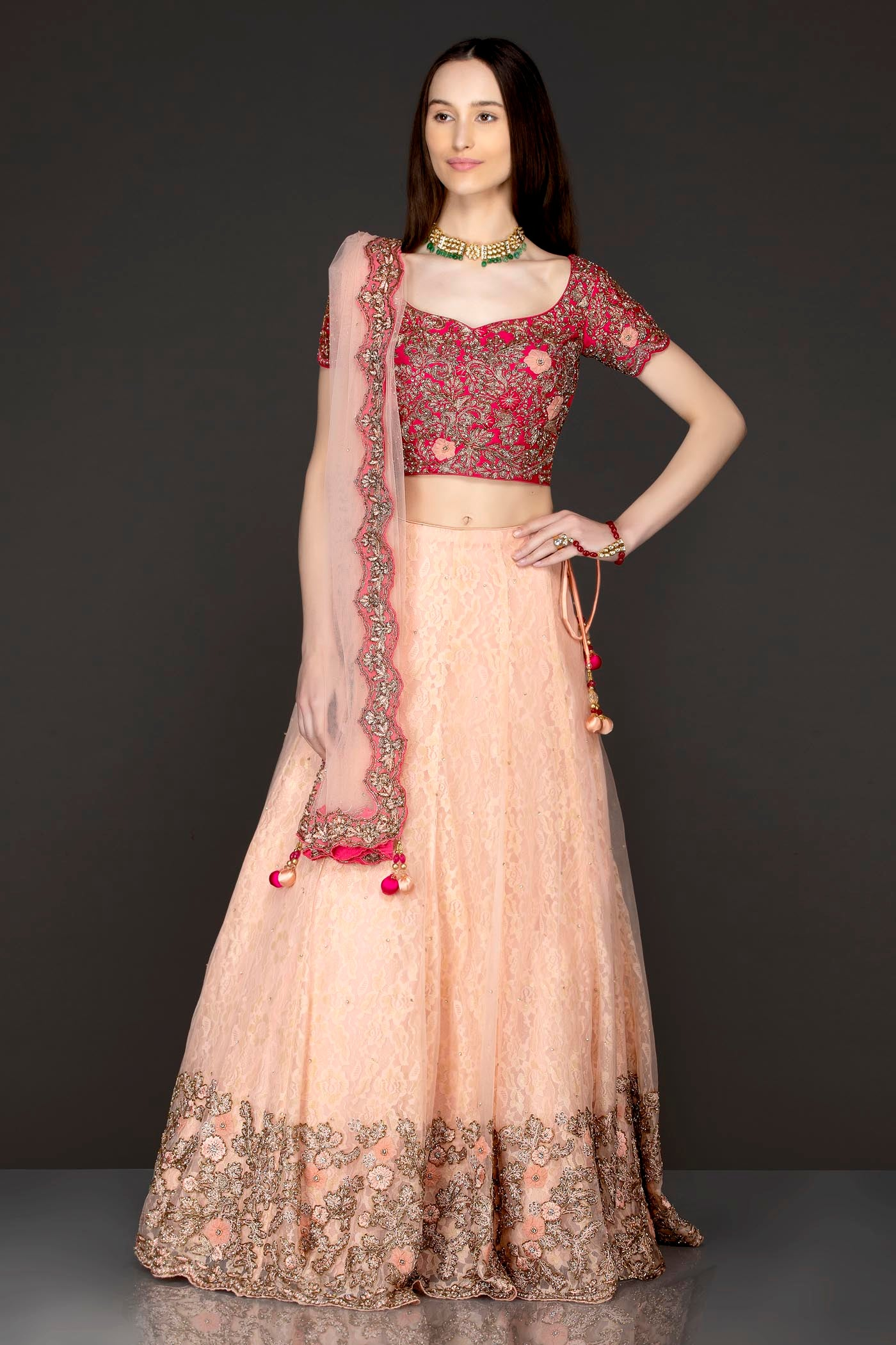 Fuchsia Pink Silk Top And Peach Organza Skirt With Lace Linning With Peach Net Dupatta
