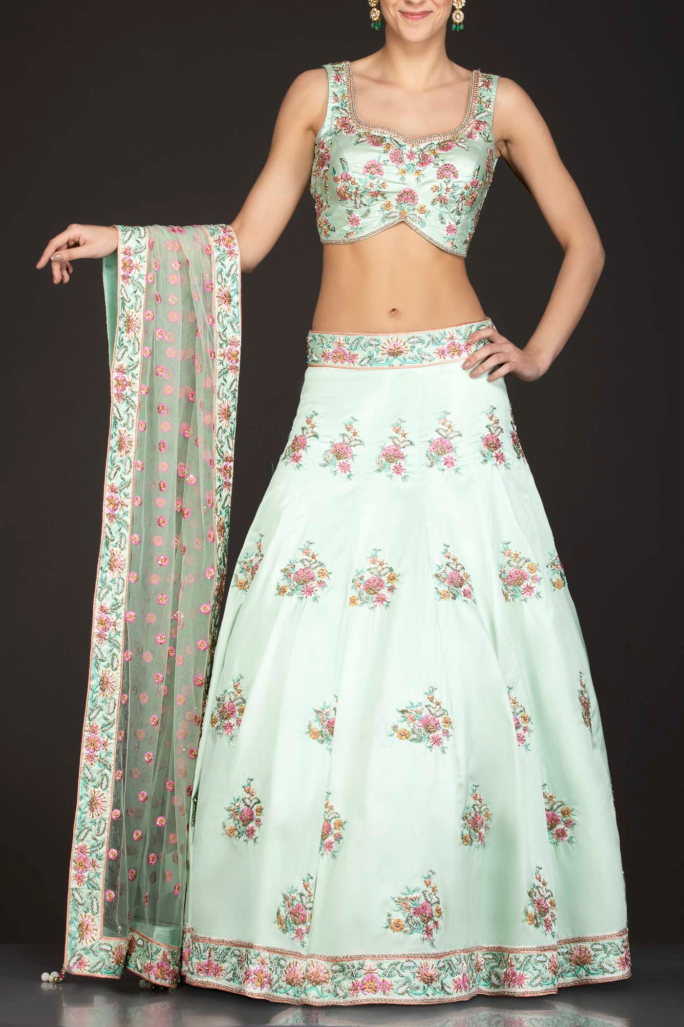 Mint Green Silk Top And Lehenga With Mint Green Net Dupatta
