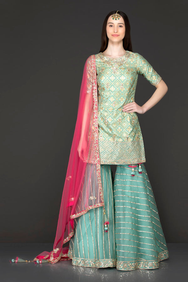 Mint Green Net Gota Patti Embroidery Sharara Top And Dupatta