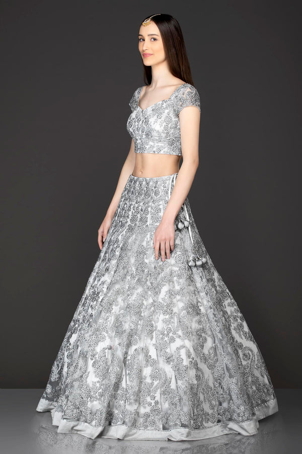 Grey Net Lehenga Skirt Top Dupatta