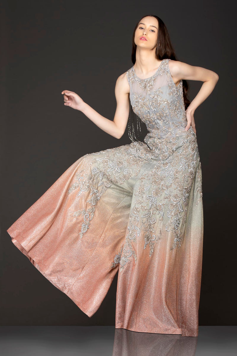 Grey To Dark Peach Ombre Sequence Jumpsuit Wih Silver Dabka And Stone Embroidery