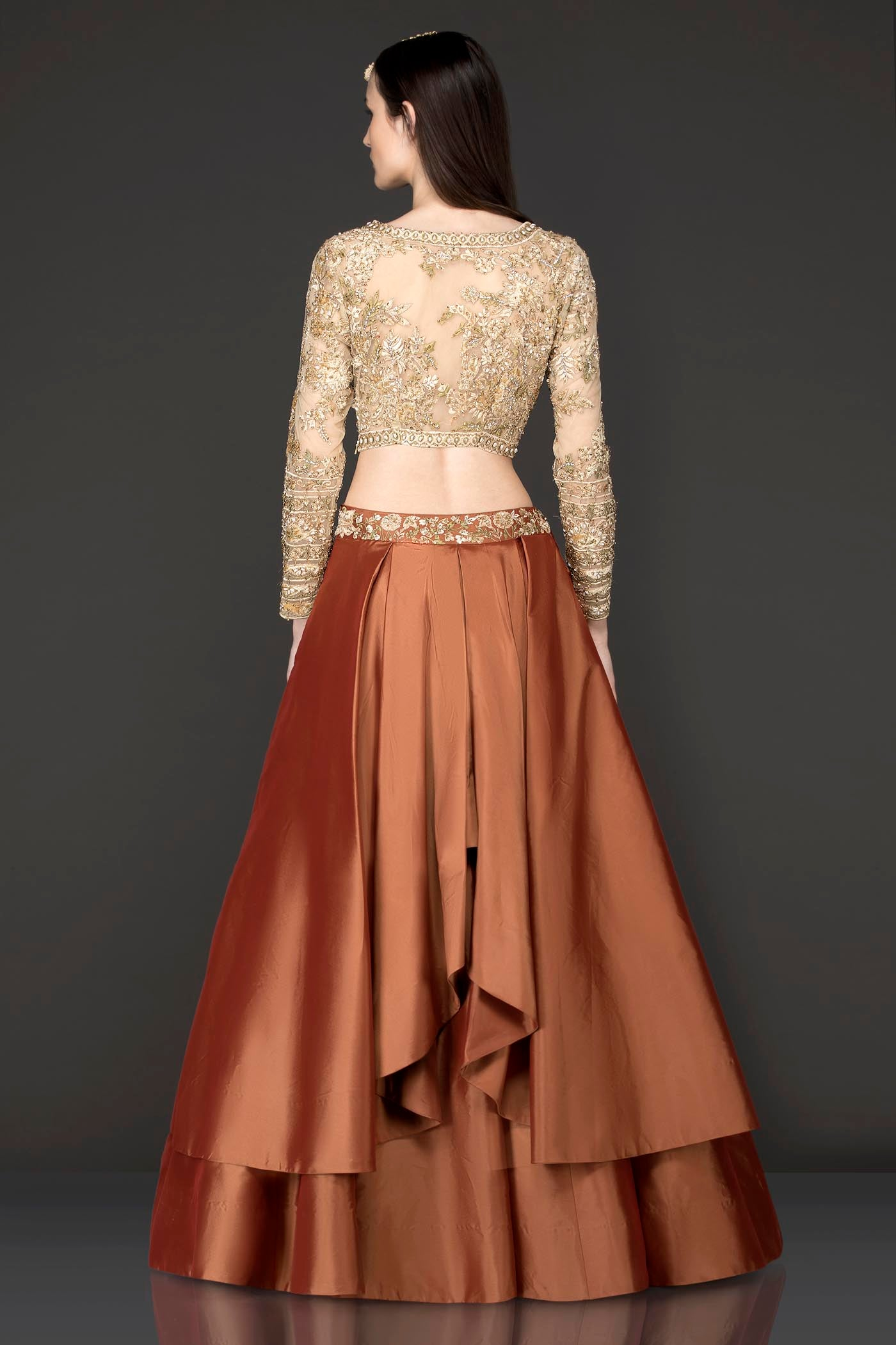 Gold Net Top With Rust Colour/Silk Double Layer Skirt