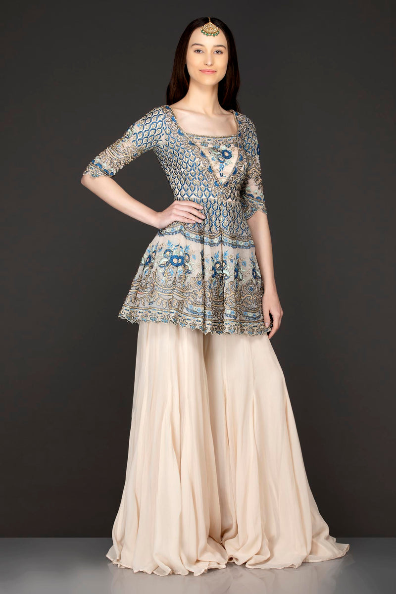 Ivory Colour Organza Peplum And Georgette Sharara And Net Dupatta Set