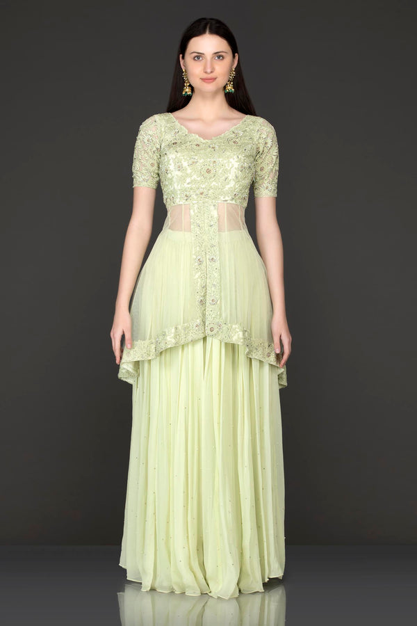 Mint Green Net Peplum Top Kameez With Georgette Sharara And Net Dupatta