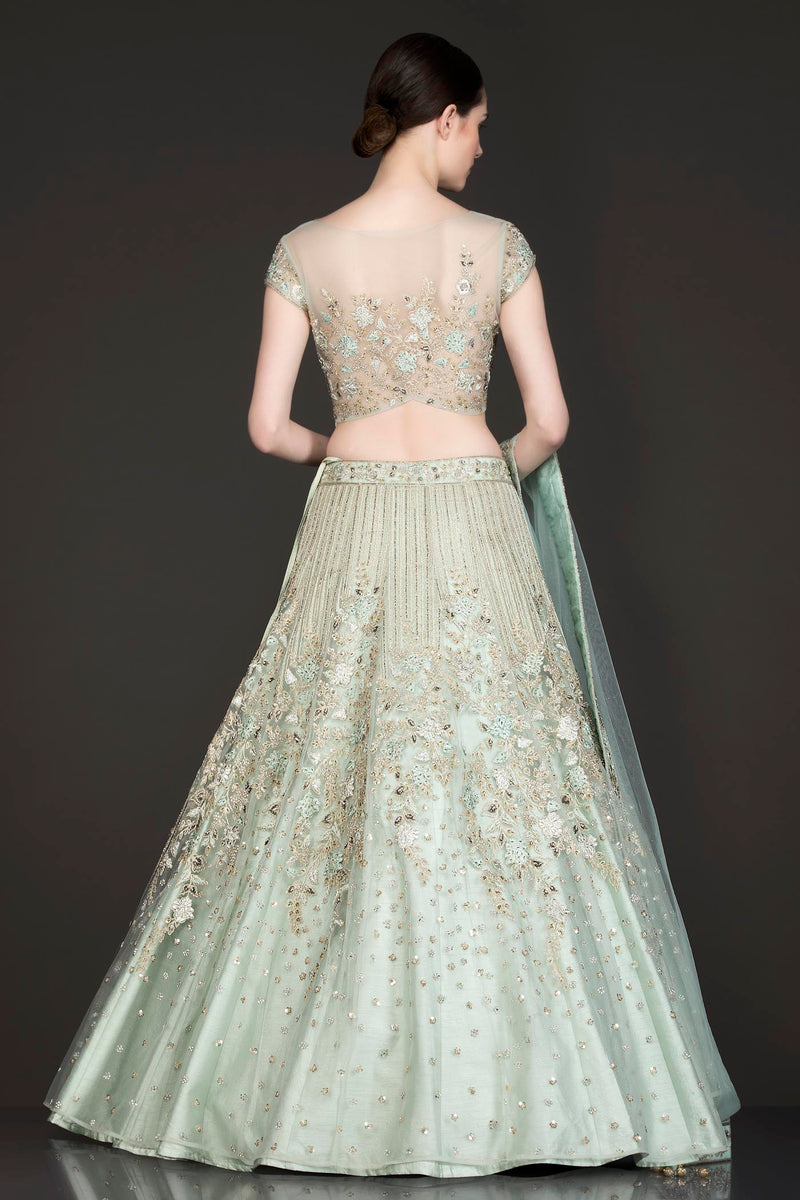 Mint Green Net Lehenga Top Dupatta With Resham Embroidery