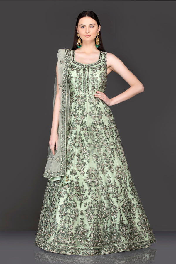 Net Anarkali/Gown With Dupatta in Tone To Tone Resham and Silver Stone work