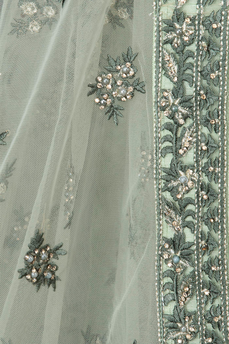 Mint Green Net Anarkali/Gown With Net Dupata Embroided With Tone To Tone Resham And Silver Stone Work