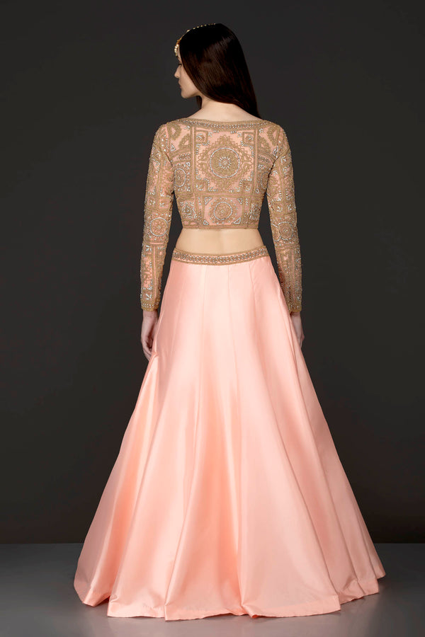 Peach Silk Skirt And Gold Net Top With Stone And Kathdana Embroidery