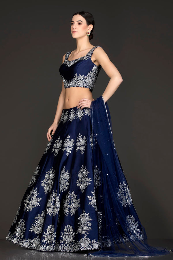 Royal Blue Colour Silk Lehenga Top With Silver Colour Stone/Swarovski Embroidery