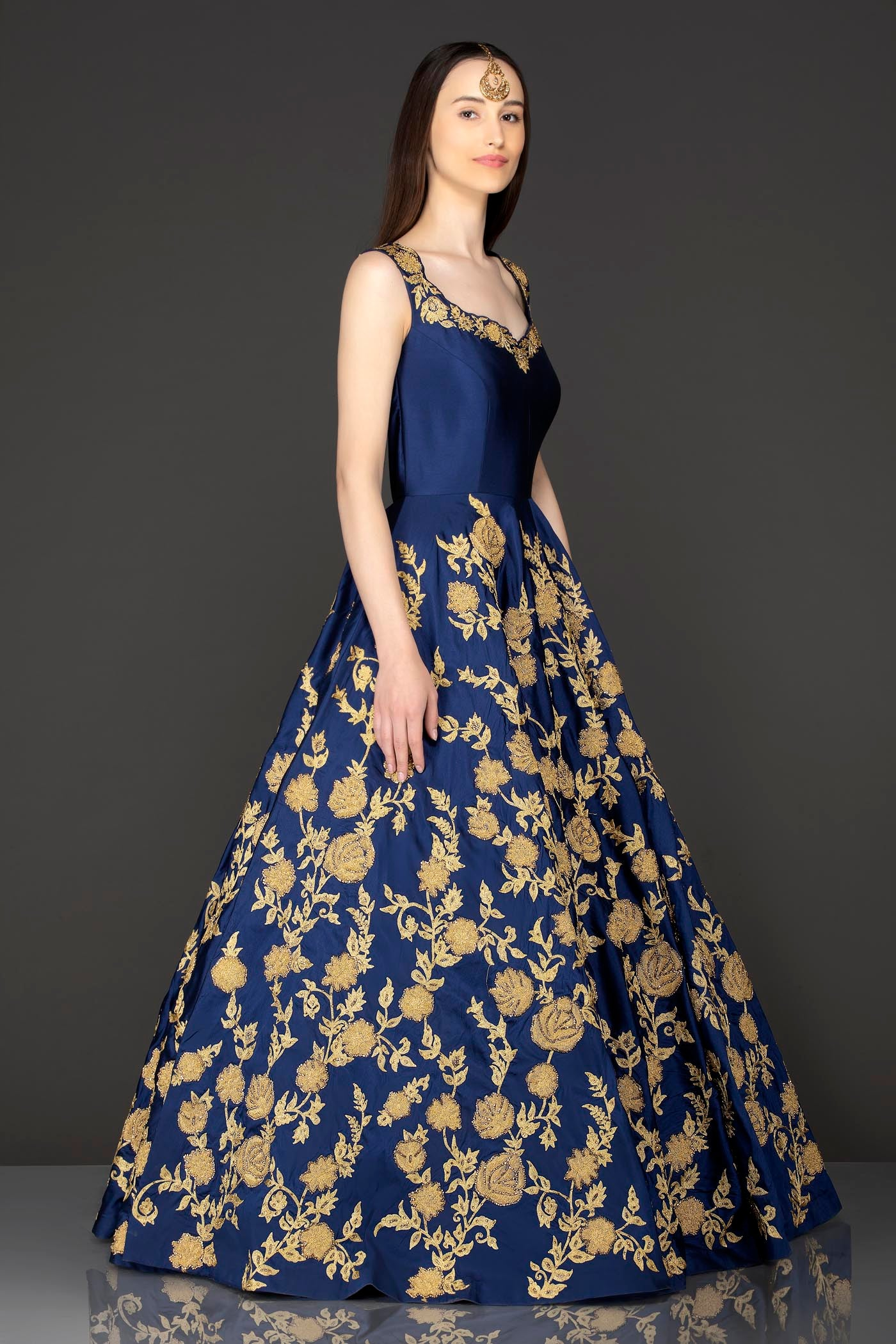 Royal Blue Silk Anarkali /Gown With Net Dupatta