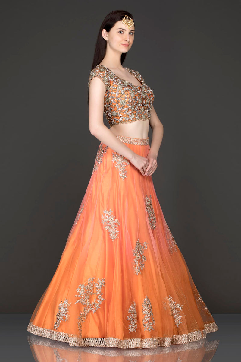 Burnt Orange Colour Lehenga Top And Dupatta With Cutwork Top