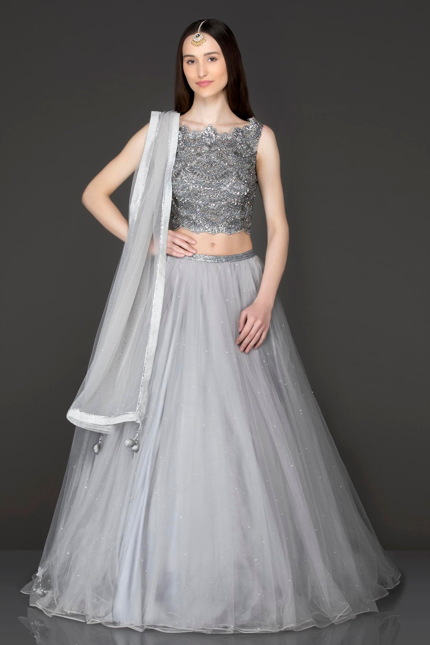 Metallic Grey Colour Net Lehenga Top And Dupatta