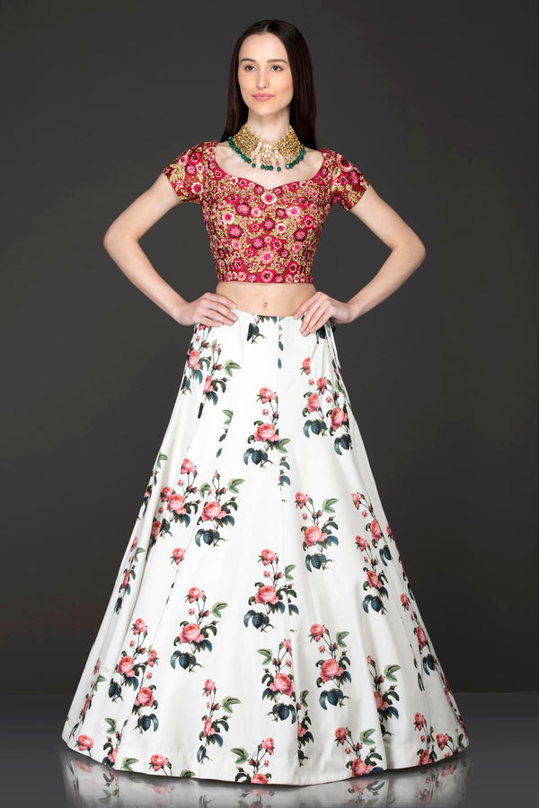 Maroon Colour Silk Top With Ivory Floral Skirt/Lehenga And Net Dupatta